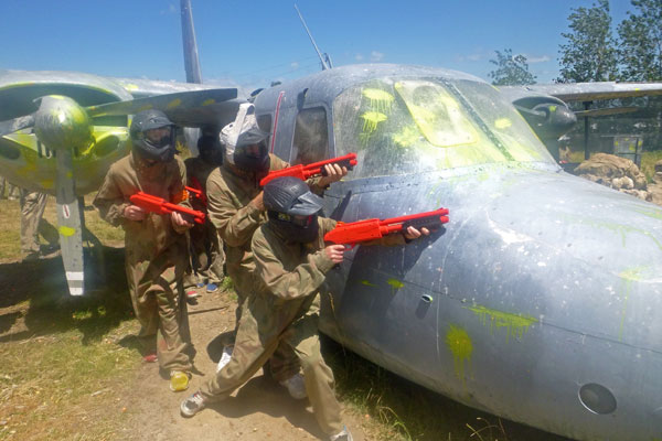 Kids paintball by the USAF aircraft at Delta Force Paintball Dingley Melbourne