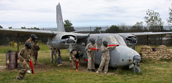 Paintball for kids, defending the usaf aircraft at Delta Force Dingley near Melbourne